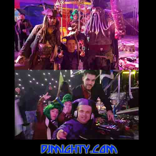 Find a Dwarf Dj Mighty with Oompa lumpas at Circus Disco Los Angeles and Midget Entertainment, Djin to little people talent Mighty Mike hire. Pirates Caribbean walk around Little people acts.